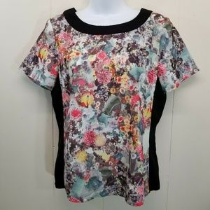 HM 8 Shirt Top Blouse Watercolor Floral Black
